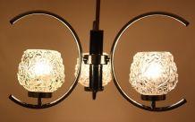 Lustre 3 branches chromé design vintage globes verre