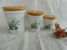 Lot 3 pot confiture ou conservation en porcelaine
