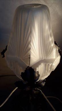 lampe acier forgé 1930   dans le gout edgard brandt   tulipe