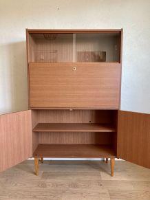 Secrétaire vitrine ouest allemand 3KMöbel vintage années 60