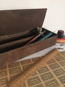 Plumier, boîte en bois, vide-poche