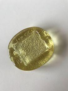 Cendrier ou vide poche vintage en verre jaune