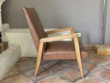 Paire de fauteuils scandinave. Pieds compas. 1950/60.