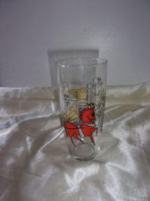 4 grand verre à orangeade  décor calèche cheval