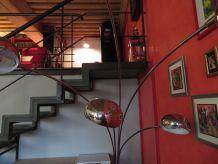Lampadaire design à 5 têtes en acier/marbre