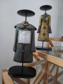 Paire de bougeoirs en résine, décoration asiatique