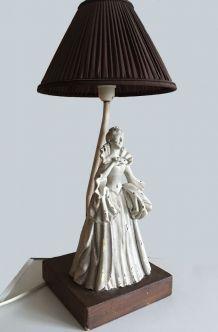 Lampe vintage, décor statue résine