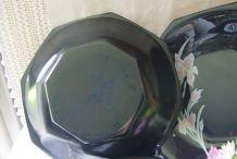 Lot de 4 assiettes creuses noires Vintage