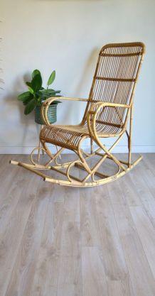 Rocking Chair Rotin Vintage