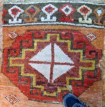 Tapis ancien Turc Konya fragment fait main, 1B588