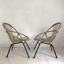 Paire de fauteuils en rotin vintage 60's