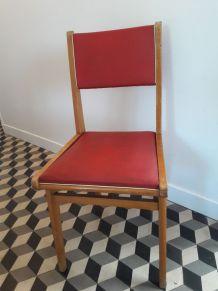 Chaise vintage Skaï rouge et bois 1950 pied compas