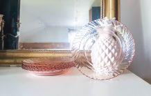 Lot 6 Assiettes creuses rose ROSALINE service ARCOROC LUMINA