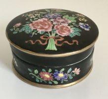 Ancienne boite céramique décor floral, signée A.Marpaux 1946