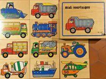 Boîte de 10 puzzles bois Véhicules.  vintage en superbe état