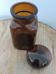 Pot apothicaire verre ambré vintage