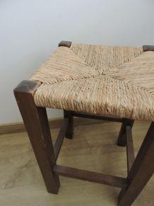 Tabouret vintage bois et paille