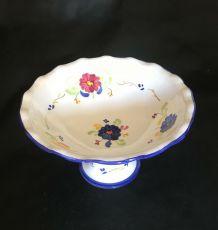 Coupe de fruit en faïence, décor floral.  Diamètre 30 cm