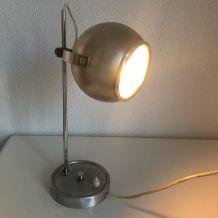 Lampe de table eyeball acier brossé vintage 1960 - 33 cm