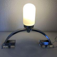 Lampe de table globe opaline arceau cristal vintage 1940 - 2