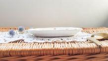 """Petit plat de service ovale ancien modèle """"FLORAL"""" faïenceri"""