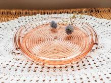 Plateau rond en verre Rose Plat à gâteau Plateau Verre cisel