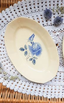 Ravier Plat oval Digoin Sarreguemines Rose bleu modèle Canne