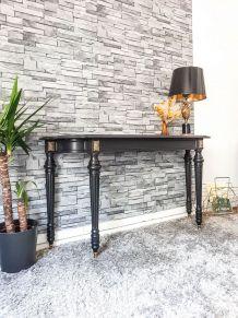 Console Italienne noir mat vintage Mid century Table d'appoi