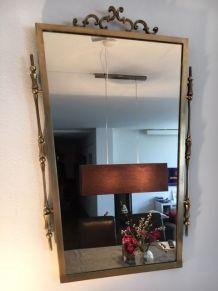 Miroir retroviseur 75cm x 35 cm laiton et bronze 1950
