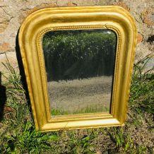 Petit miroir ancien Louis Philippe doré vintage