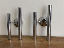 Paire d'appliques double tubes en acier chromé.1970.