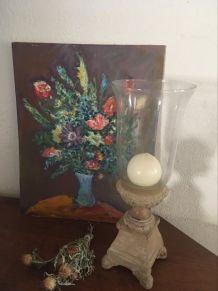 Bougeoir indien en bois et verre à la forme de vase.