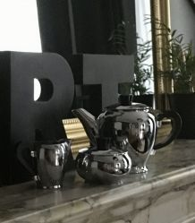 Service thé art déco cuivre nickelé