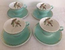 4 tasses aux oiseaux verts, Badonviller