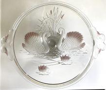 Serviteur vintage en verre  diamètre 32 cm