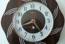 Horloge murale Vedette formica bois quartz fonctionne rosace