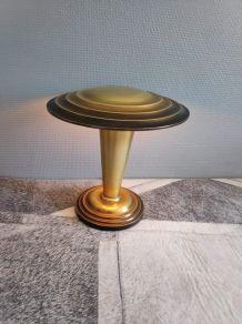 lampe champignon art déco doré et marron en métal léger