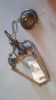 lustre lanterne bronze verre cisele taillè  28x12 avec sa ch