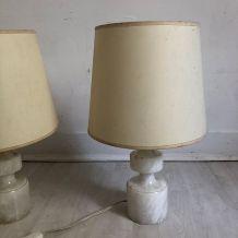 Paire de lampes en albatre vintage 70's