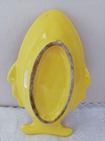 Cendrier jaune en céramique vintage