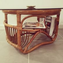 Table basse bambou et rotin italy années 50