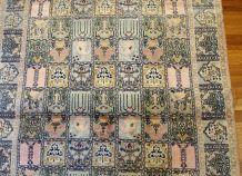 Tapis vintage soie Indien Qum style fait main, 1B689