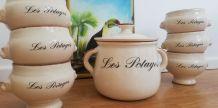 Soupière et ses 6 bols à potage vintage