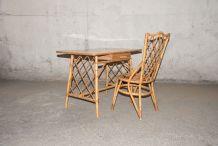 Bureau + chaise enfant bambou & rotin 60's
