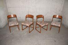 Série de 4 chaises traineau Baumann 60's