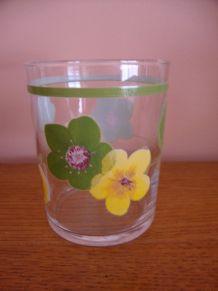 6 verres à orangeade vintage décor vert et jaune
