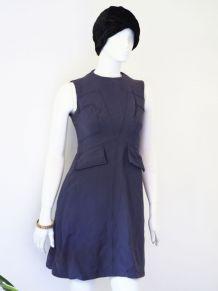 Robe ajustée en laine mauve vintage 60's 70's