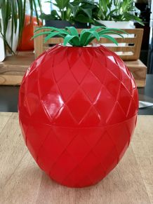Seau à glaçons ananas rouge vintage