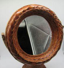 miroir de table rotin osier vintage pivotant
