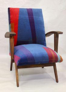 Fauteuil scandinave années 50 / 60 tissu velours impression
